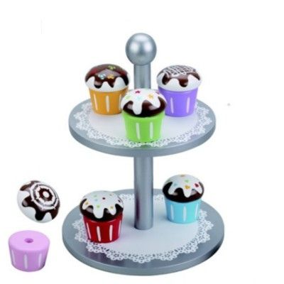 Leksaksmat - Kakfat med 6 muffins i trä - silver