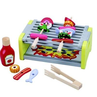 Leksaksmat - Grill med grillspett i trä
