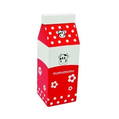 Leksaksmat - Mjölkkartong i trä - röd - MaMaMeMo