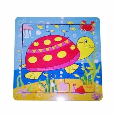 Pussel i trä - Sköldpadda, 9 bitar