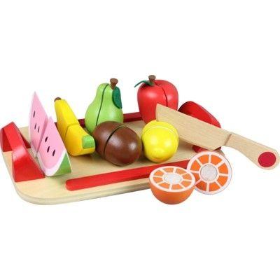 Leksaksmat - Stor bricka med frukt i trä