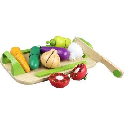 Leksaksmat - Stor bricka med grönsaker i trä