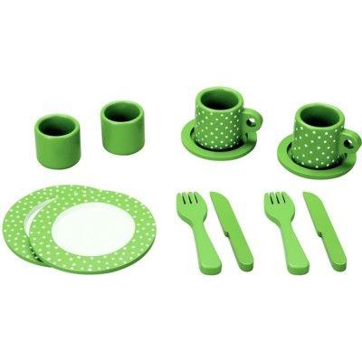 Servis i trä - grön med prickar