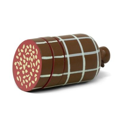 Leksaksmat - Salami i trä att skära - Mamamemo