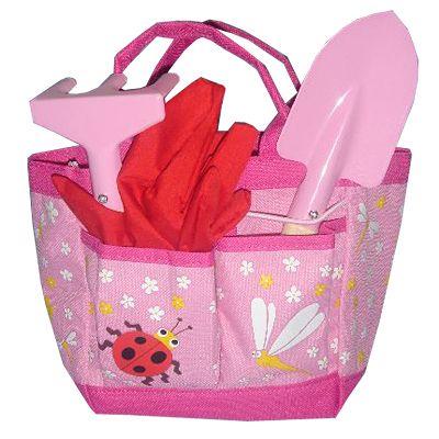Trädgårdsväska - rosa med nyckelpiga