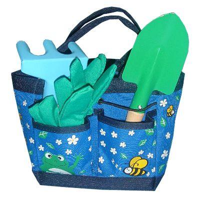 Trädgårdsväska - blå med groda