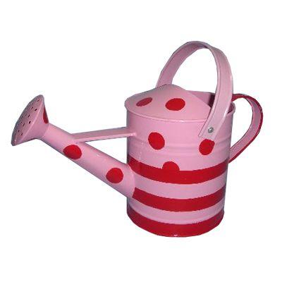 Vattenkanna i plåt, rosa med röda prickar