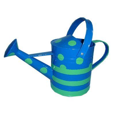 Vattenkanna i plåt - blå med gröna prickar