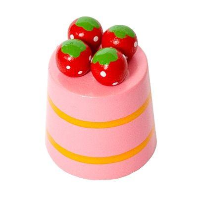 Leksaksmat - rund bakelse - jordgubbar