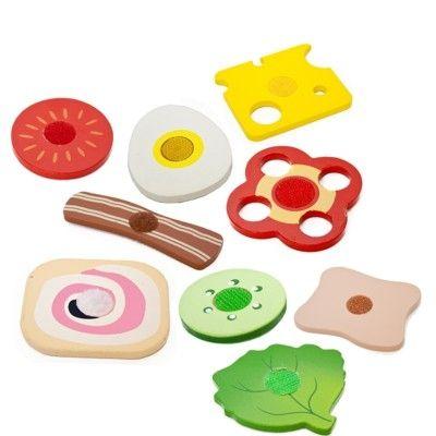 Leksaksmat - Pålägg, ost och grönt i trä