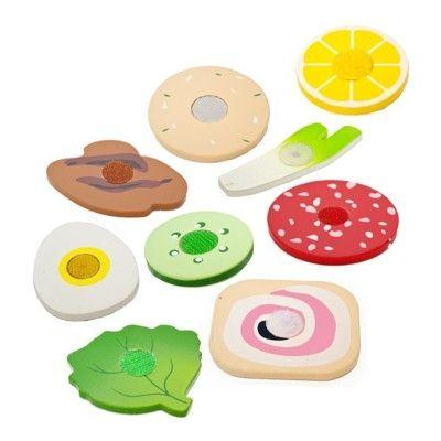Leksaksmat - Pålägg och grönsaker i trä