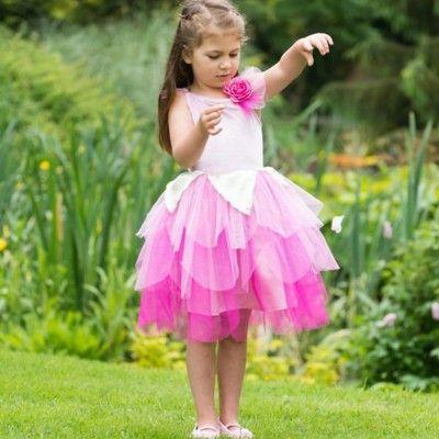 Feklänning med rosa blomma - 6-8 år