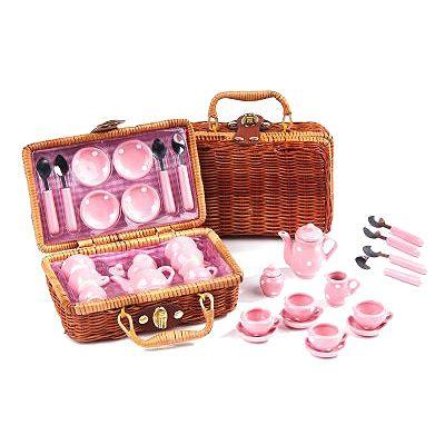 Servis i picknickkorg - porslin - rosa
