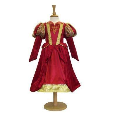 Klänning - medeltida drottning i rött, 6-8 år