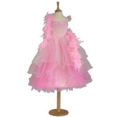 Utklädning - rosa klänning med fjäderboa, 3-5 år