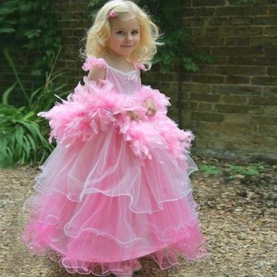 Utklädning - rosa klänning med fjäderboa, 6-8 år