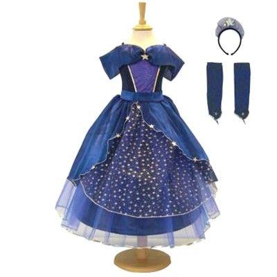 Prinsessklänning - blå med stjärnor, 9-11 år