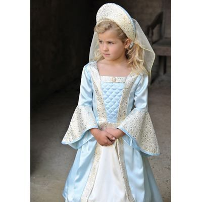 Prinsessklänning - medeltida - ljusblå, 9-11 år