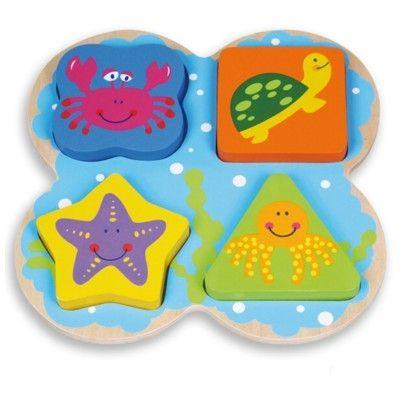 Pussel med färger och former, havsdjur