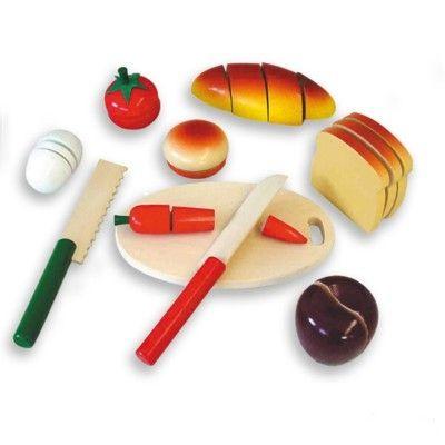 Leksaksmat - frukostlåda i trä med kardborre