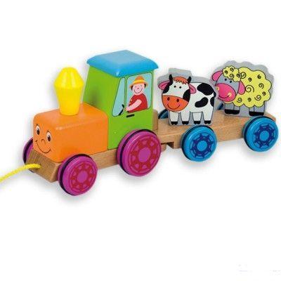 Traktor i trä med djur - dragleksak