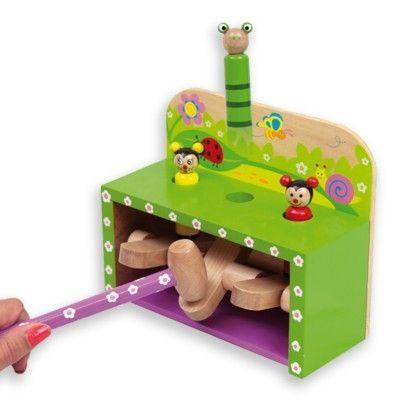 Hammarbräda med pop-up-figurer - trädgårdsdjur