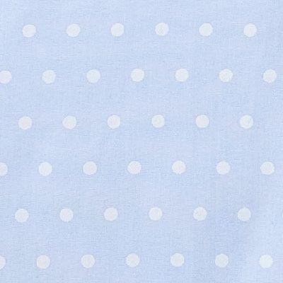 Tygpåse - ljusblå med prickar och virkade blommor