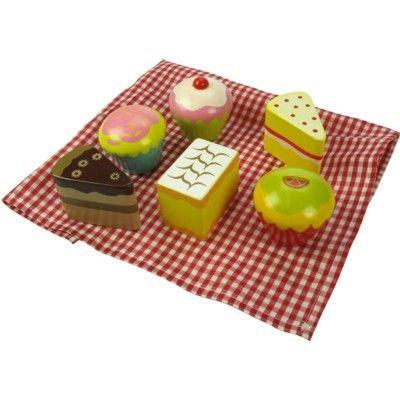 Leksaksmat - Ask med kakor i trä, 6 st