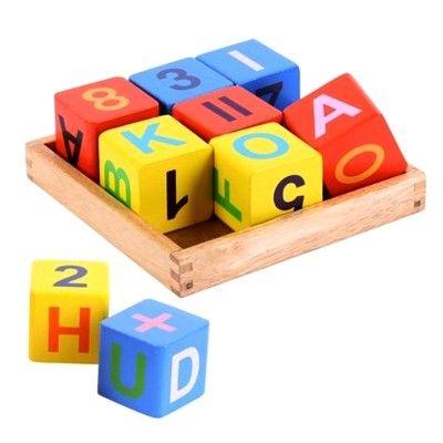 Byggklossar i trä - bokstäver och siffror - Bigjigs