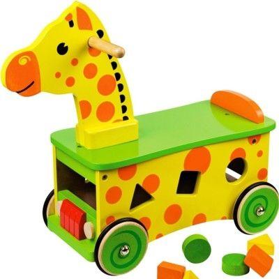 Åkdjur - giraff med klossar - Bigjigs