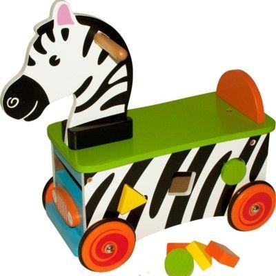 Åkdjur - zebra med klossar - Bigjigs