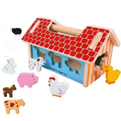 Klosslåda i trä - Hus med bondgårdsdjur - Bigjigs