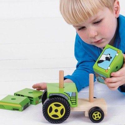Träbil - Traktor med klossar - Bigjigs