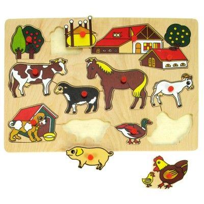 Knopp-pussel - bondgård - 12 bitar - Bigjigs