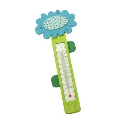 Termometer i trä - blomst, blå