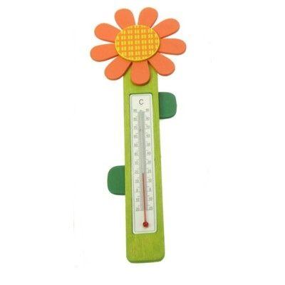 Termometer i trä - blomst, orange