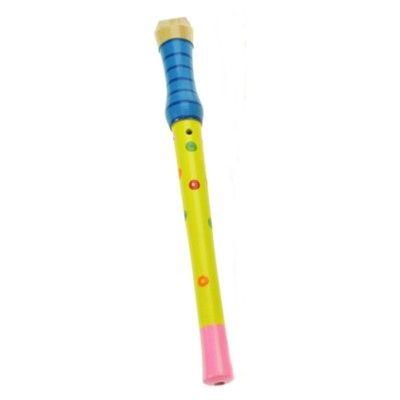 Blockflöjt i trä - blå/gul