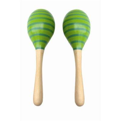 Maracas - ränder - grön - 2 st