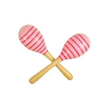 Maracas - ränder - rosa - 2 st
