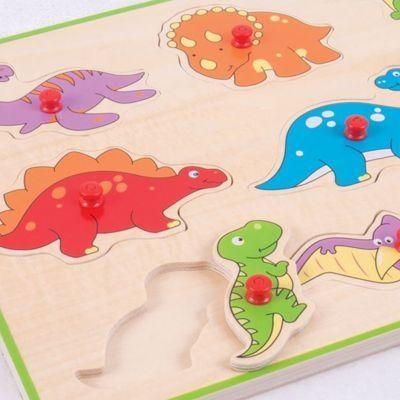 Knopp-pussel - Dinosaurs - 9 bitar - Bigjigs