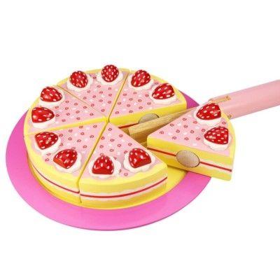 Leksaksmat - Tårta i trä - jordgubb - Bigjigs