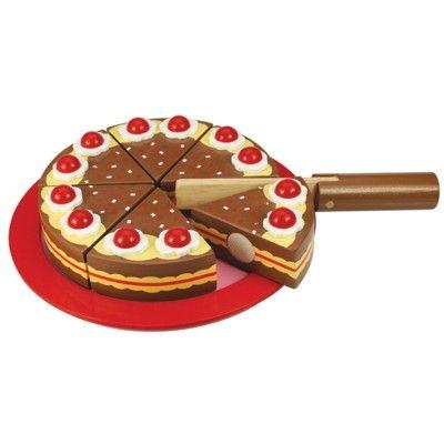Leksaksmat - Tårta i trä, choklad - Bigjigs