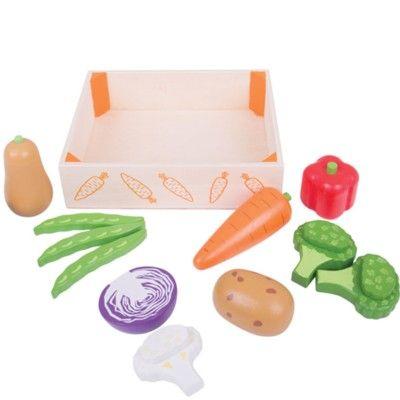 Leksaksmat - Låda med grönsaker - Bigjigs