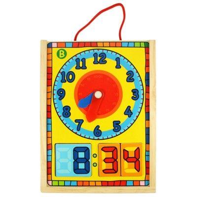 Pussel i trä - lär dig klockan - analog och digital - Bigjigs