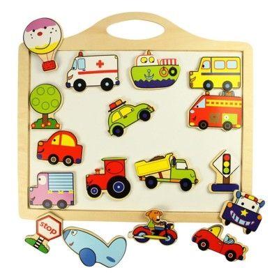 Tavla i trä med magnetfigurer - fordon