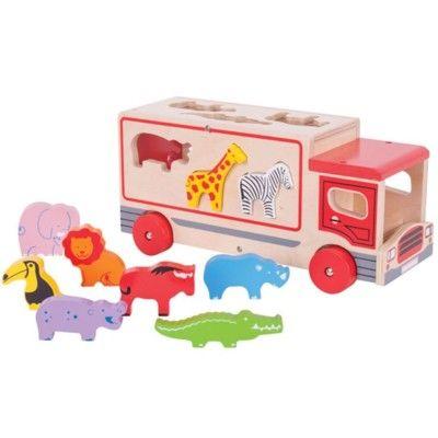Klosslåda i trä - Safaribuss - röd - Bigjigs