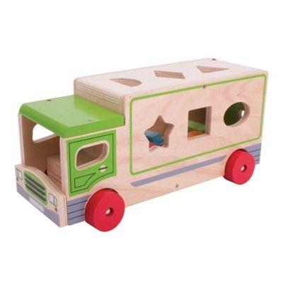 Klosslåda i trä - lastbil - grön - Bigjigs