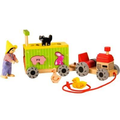 Klosslåda i trä - Traktor med släp