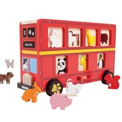Klosslåda i trä - Londonbuss med djur