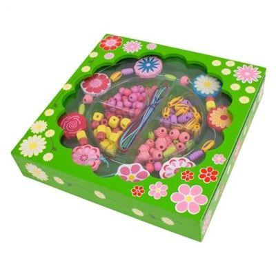 Träpärlor - blommor i grön ask